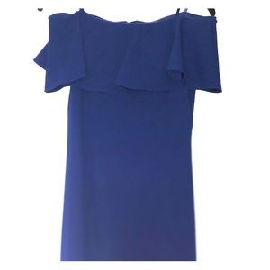 Adrianna Papell purple off the shoulder dress